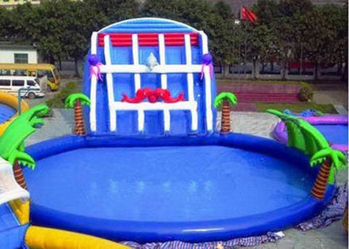 Palm Tree Inflatable Swimming Pools With Slide , Inflatable Above Ground Swimming Pools