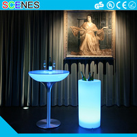 RBG color changeable battery rechargeable outdoor light up led cocktail table