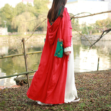 2017 New Spring Coats Chinese Style Hood Cotton Linen Robe ladies overcoat designs
