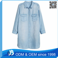 Business Casual Long Sleeve Office Demin Shirt For Ladies
