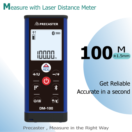 0.05m100M long laser rangefinder calculator area,volume,height,store memory,stake-out and bluetooth precision measuring tool