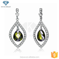 Delicate Olives leaf shape with green stone inside,double earring wholesale