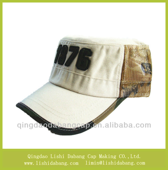 Custom fashional mesh fabric summer cap military hat with 3D embroidery logo