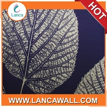 background paper wall decoration leaf wallpaper blue and silver