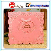 Special designed elegant Pink wedding invitation card with silk ribbon