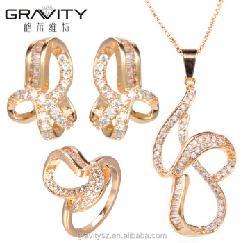2017 perfect fashionable style designs italian 18 carat gold plated jewelry sets