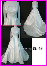 2014 guangzhou real Islam long sleeves satin tulle embroidered A-line wedding gowns/bridal dress vintage EL13M