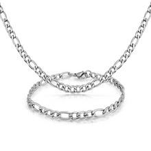 Mens Stainless Steel 5mm Figaro Chain Necklace Set Wholesale Jewelry Necklace Chain Designs