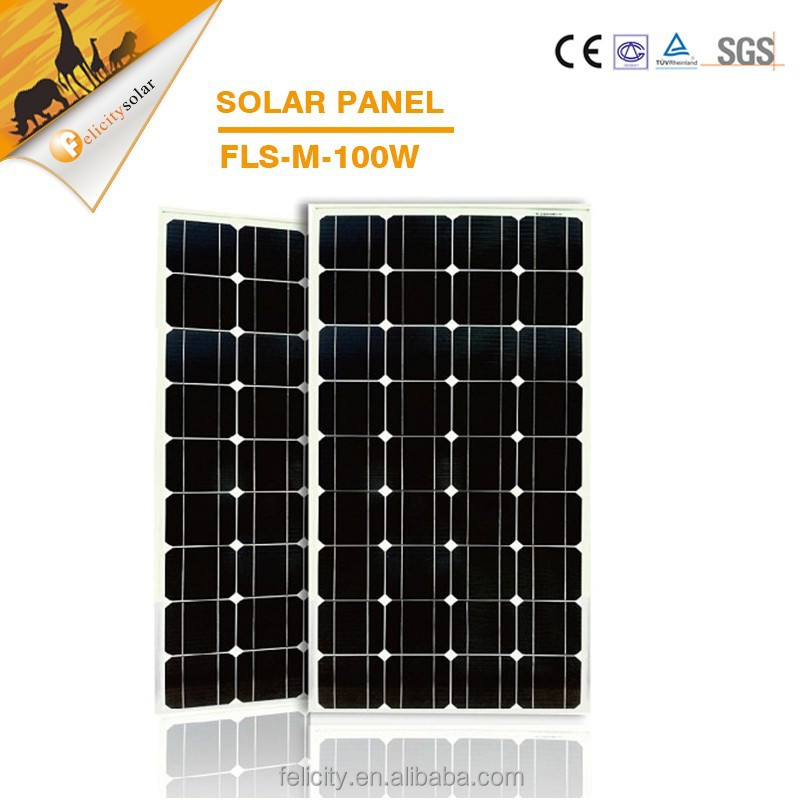 Easy installation high efficiency 100w photovoltaic monocrystalline silicon solar cells