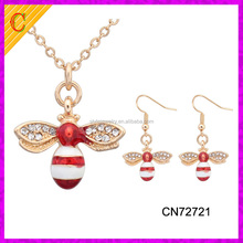 CN72721 Cheap Wholesale Colorful Enamel Little Bee Jewelry Earring And Necklace Set