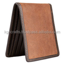 Genuine leather bi-fold three size men wallet