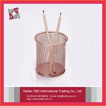 high quality promotional gifts metal mesh power coated office desk accessories rose gold pen holder