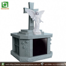 Black Granite Angel Monument Design with cross