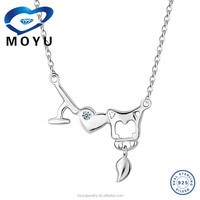 Wholesale fashion jewelry 925 Sterling Silver letter love necklace in rhodium plated necklace designs