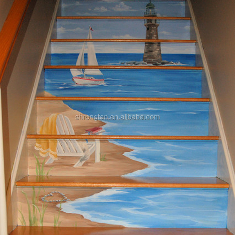 Beach Scenery Waterproof Floor Stairs Murals