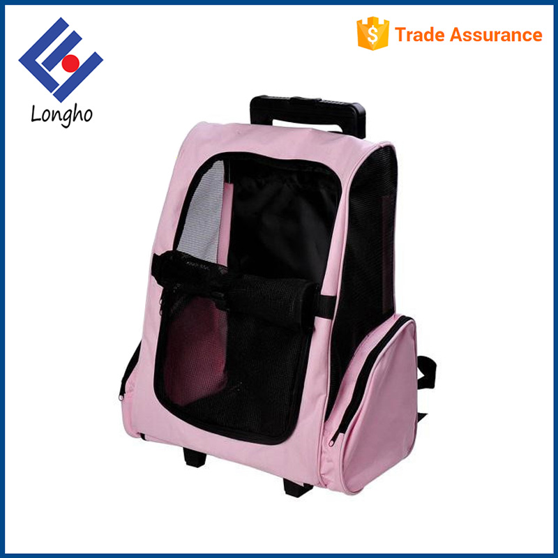 Wholesale cheap rolling large dog carrier backpack, front 2 parts zipper closure outdoor travel dog pet trolley bag with wheels