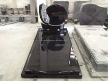 Black granite memorial tombstone with flowers, cheap price carved granite tombstone