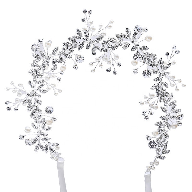 2019 Latest Design Crystal Pearl Head Wedding <strong>Hair</strong> <strong>Accessories</strong> Bridal Flowers <strong>Hair</strong> band