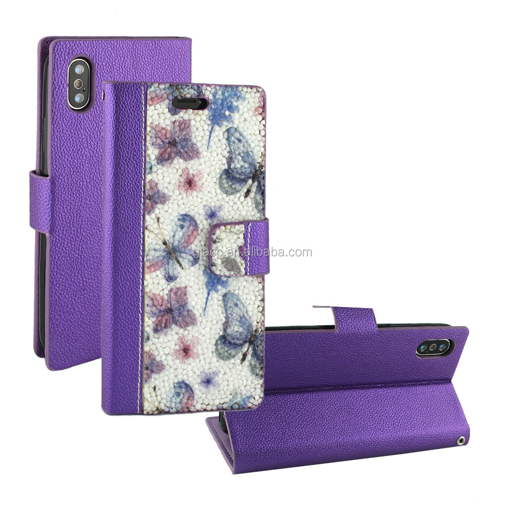 New Products 2018 new leather phone Print Diamond Wallet Case for IPHONE X