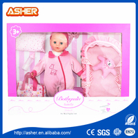 "2016 newest 14"" silicone reborn alive baby doll with pretend sets"