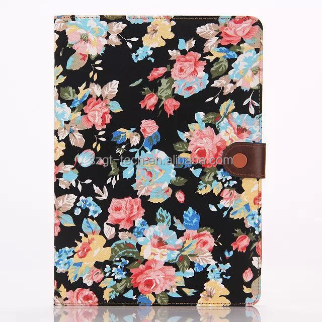 Magnetic Flowers Floral Jacquard Wallet Leather Flip Cover Case for Apple IPad Air 2
