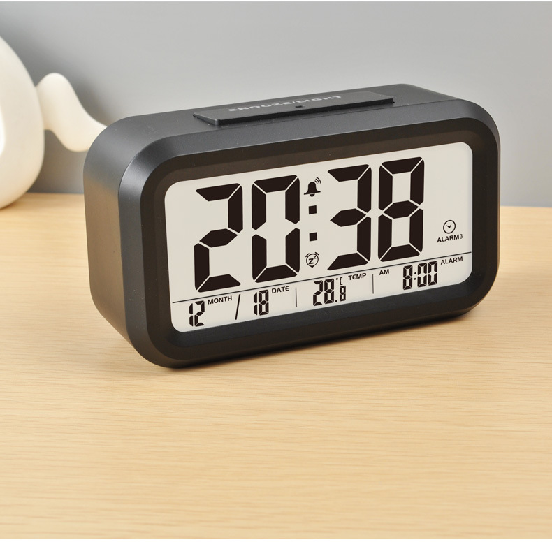Cheap Table LCD Digital Musical Alarm Clock with Temperature Display and Talking Time For Home or The Blind