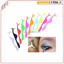 2017 Hot Sales Professional Stainless steel false eyelash applicator tweezers with private label high quality cosmetics