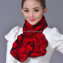 Top quality winter fur scarf / knitted fur scarf with rose flower knot