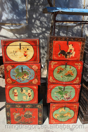 Chinese antique painting gift box storage chest