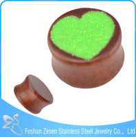 China manufacturer wood intimate ear plug heart high quality body jewelry