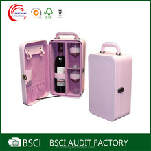 Leather wine carrier for 1bottle and 2 glasses with protective belt