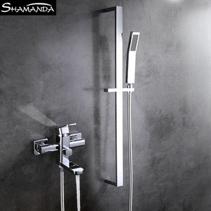 Hot and Cold Exposed Shower Bathtub Faucet Mixer Tap with Slide Bar