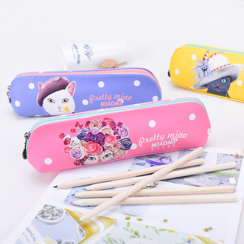 Languo creative cartoon cat design zipper PU leather pen case for girls for wholesale