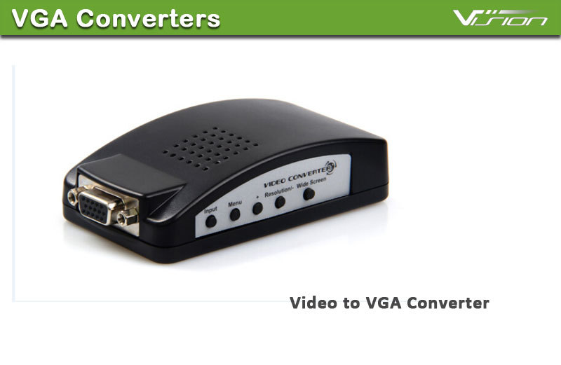 New TV AV S Video RCA Composite to VGA PC Monitor Converter Adapter Box