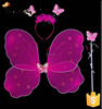 Fashion Party Decorations Girls Cheap Glitter Fairy Wings Sets Cheap Nylon Butterfly Wings