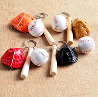 promotional gift Faux Leather Wood Bat customized logo embossed 3d Baseball Gloves key chain