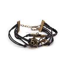 Leather Cord Multi-strand Bracelets,Black,with Camera & Bicycle Alloy Findings