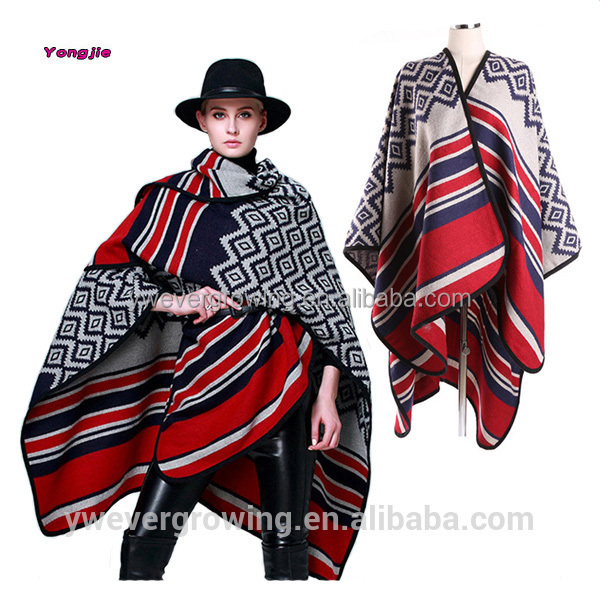 China Wholesale Winter New Fashion Vintage Ethnic Luxury Acrylic Thick Cape Wrap Poncho Scarf and Shawl 2016