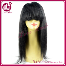 "16""better lace front hair wigs for women jet black #1hair extensions free sample in time shipping straight hair with bangs"