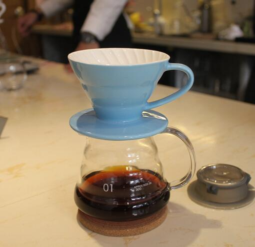 360ML pour over Espresso Coffee Server + V60 Coffee Dripper Sets Brewer coffee ceramic filter and glass server