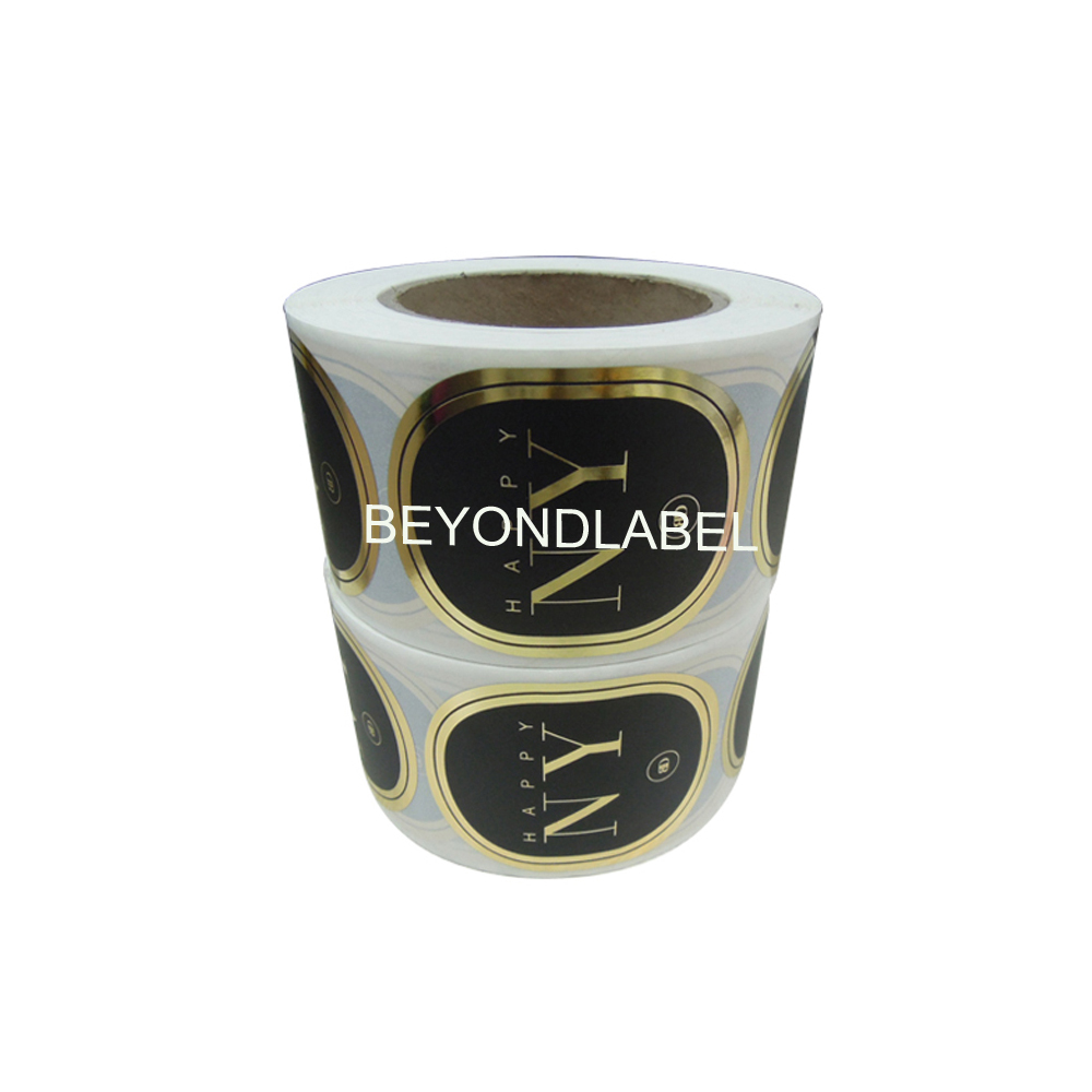 Hot Sale Custom Roll Waterproof Foil Hot Stamping Packaging Stickers,Luxury Candle Sticker.