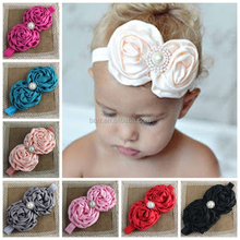 14 colors double rose pearl baby flower headband