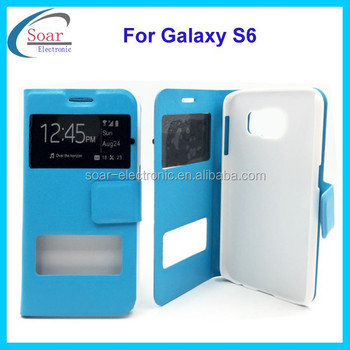 leather case with window view for Samsung galaxy S6,for Samsung galaxy S6 view window smart case