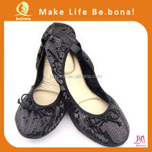 2016 OEM Latest Design Cheap Black Sequin Women Casual Flat Ballerina Foldable Shoes
