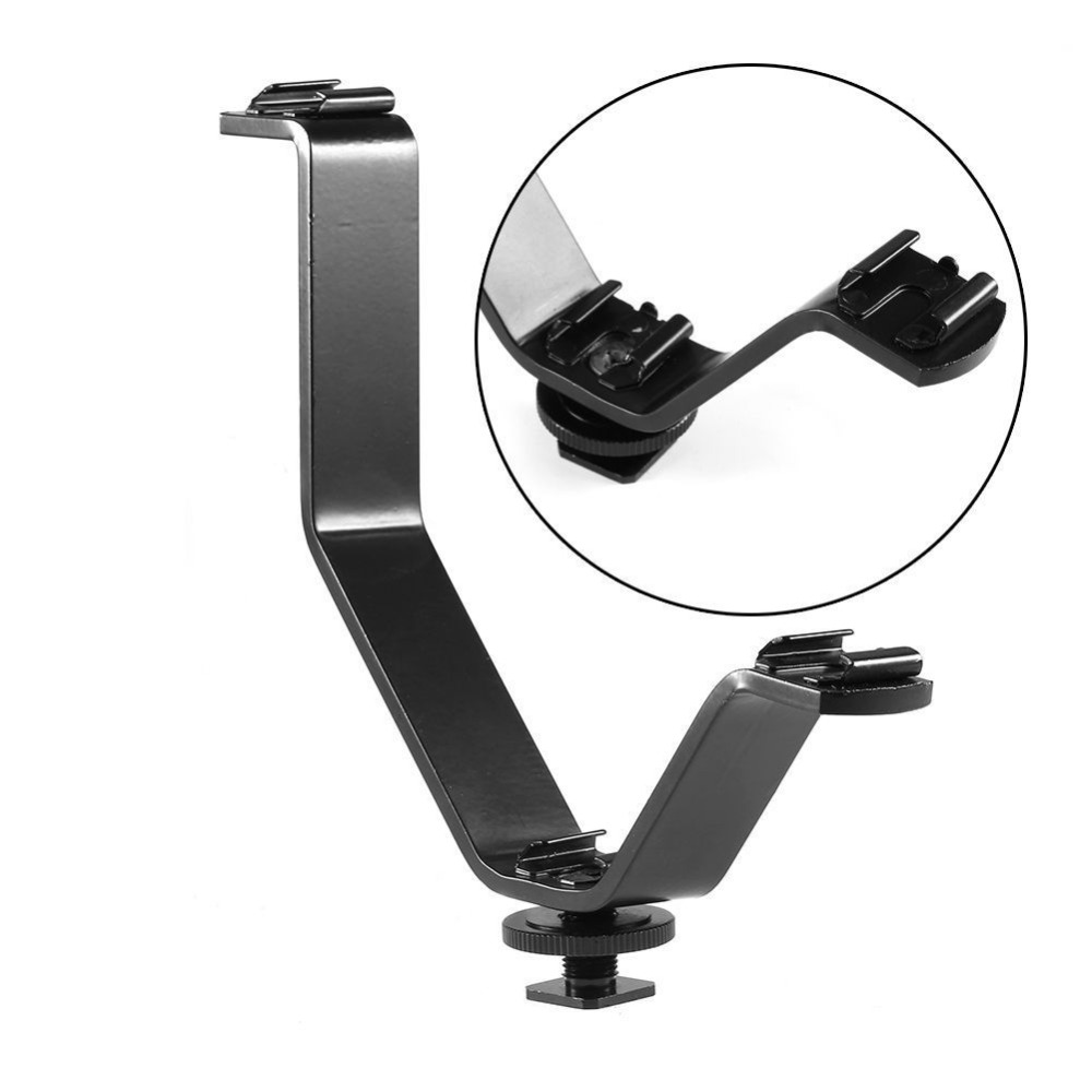 LC2625 V Type Triple Hot Shoe Mount Flash Dual Bracket for Monitor Video