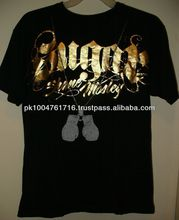 Hot T-Shirts Gold On Black With Boxing Gloves T-Shirt Medium Boxer Graphic