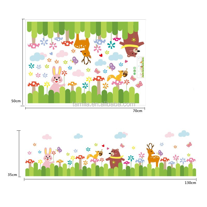 Cartoon Animal Kids Wall Decals Sticker Wallpaper Border Tile Sticker Self Adhesive Undersea Beauty PVC DIY Wall Border Stickers