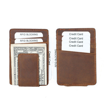 wb1514 Mens Crazy Horse Genuine Leather RFID Blocking Wallet Money Clip