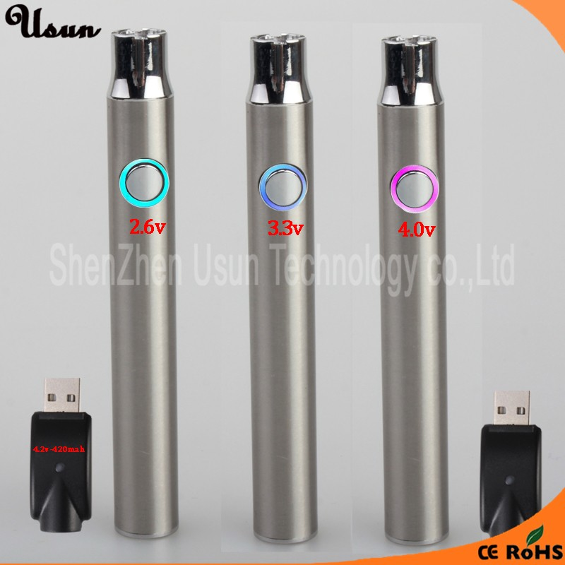 Usb preheat battery with micro usb charging interface on bottom