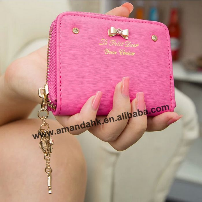 Fashion Ladies Solid Color Wallet Candy Colors Girl Zipper Bowknot Pendant Pu Leather Purse Excellent Seller